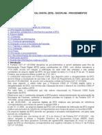 531_ICMS - ESCRITURAÇÃO FISCAL DIGITAL (EFD) - DISCIPLINA - PROCEDIMENTOS