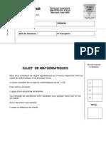 2009 sujet mathematiques