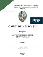 Caiet de Aplicatii - Matematici re Si Actuariale