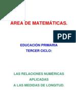 Las relaciones numéricas aplicadas a las medidas de longitud.