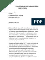 METODOLOGÍA DIDACTICA DE LAS ACTIVIDADES FÍSICAS Y DEPORTIVAS