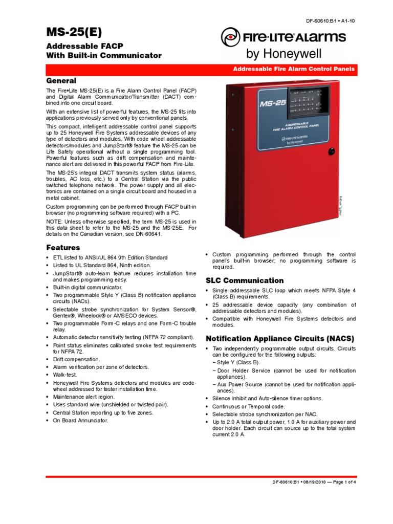 Fire Lite Honey Well) MS-25 Data Sheet - Df-60610-1 | Relay