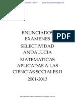 Enunciados Examenes Selectividad Matematicas Aplicadas Ciencias Sociales II Andalucia 2001-2013