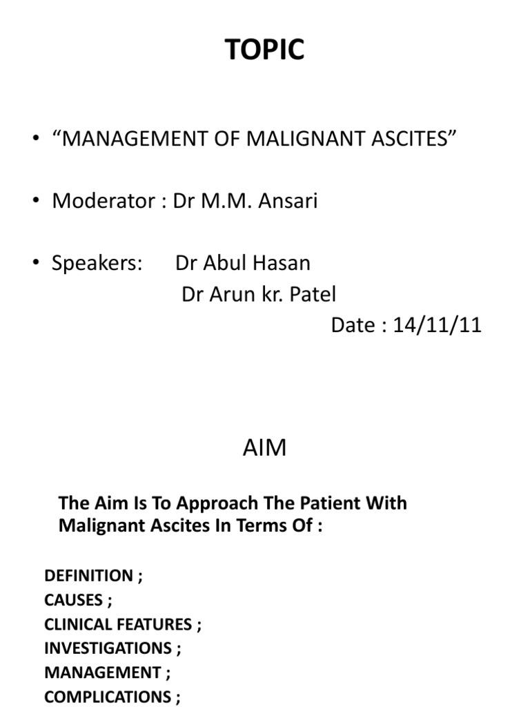 malignant ascites - monday seminar | cirrhosis | thrombosis