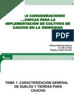 Algunas Consideraciones Tecnicas Para La Implementacion de Cultivos de Cauchio en La Orinoquia Al