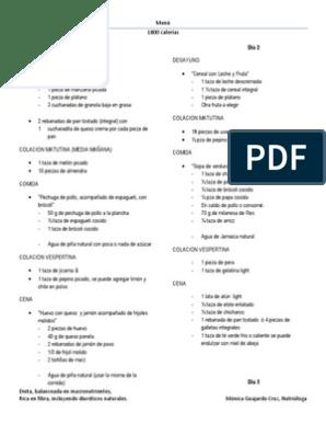 Dieta de 1800 calorias para adelgazar pdf
