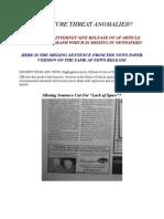 DHS Homeland Sec Threat Report Anomalies!