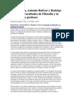 Feito, R. Bolívar, A y García R.J. Facultades de Filosofía y la profesión de profesor