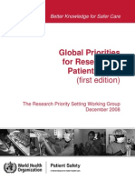 Global Priorities Patient Safety Research