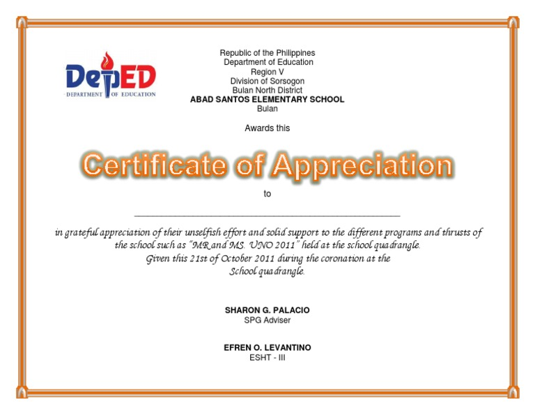 Certificate of appreciation uno yelopaper Choice Image