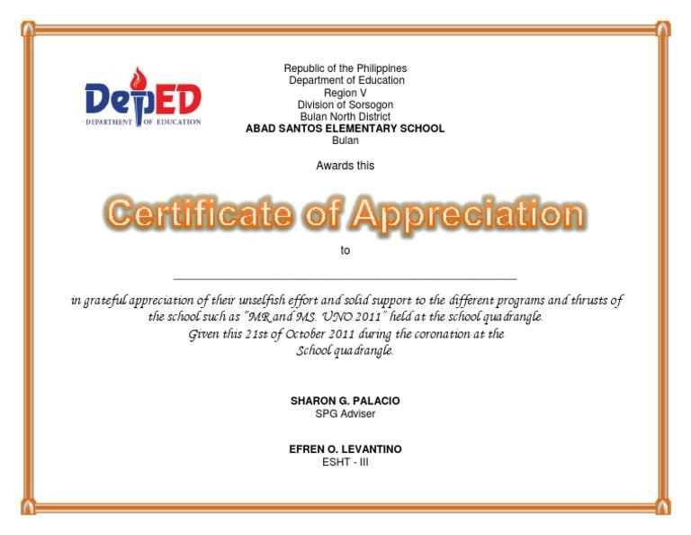 Certificate of appreciation uno yelopaper Images