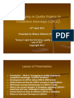Leveraging on Quality Management N Dhlamini 14 April 2012