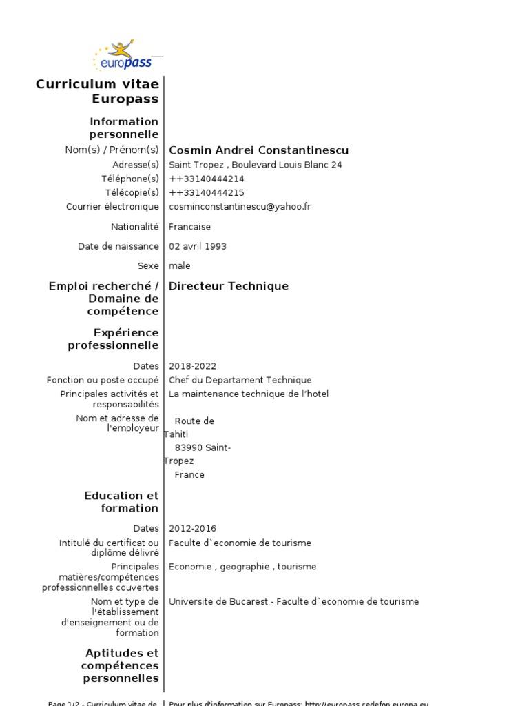 model cv in franceza
