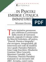 """Recensione di Massimo Onofri Avvenire (24/05/2012) - """"Pascoli - poesia e biografia"""" AA.VV. Mucchi Ed, 2012"""