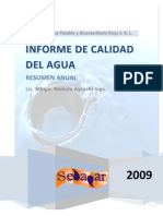 Informe de Calidad Del Agua - Resumen 2009