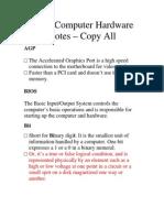 Basic Computer Hardware Notes
