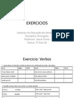 EXERCICIOS - VERBOS 7 ANO