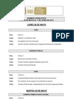 Agenda Legislativa - 28 de mayo al 1 de junio de 2012