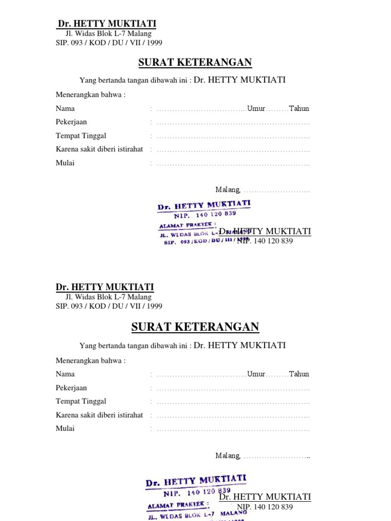 Surat Keterangan Dr Hetty Muktiati
