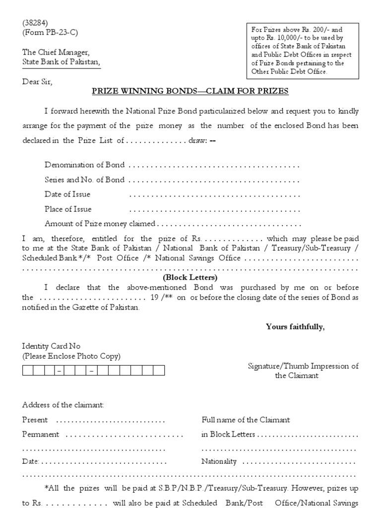 Pb Claim Form Bonds Finance Money