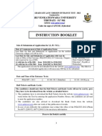 Pglcet Instruction Booklet 2012