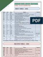 Academic Year Planner -2012