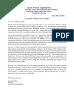 Karen Women Organization(KWO) Open Letter To Daw Aung San Suu Kyi-engl.