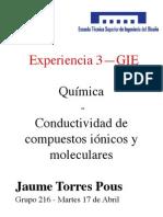 Practica 3 Quimica - Conductividad de disoluciones