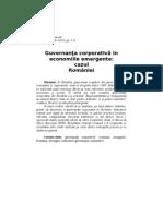 Guvernanta Corporativa in Economiile Emergente Cazul Romaniei