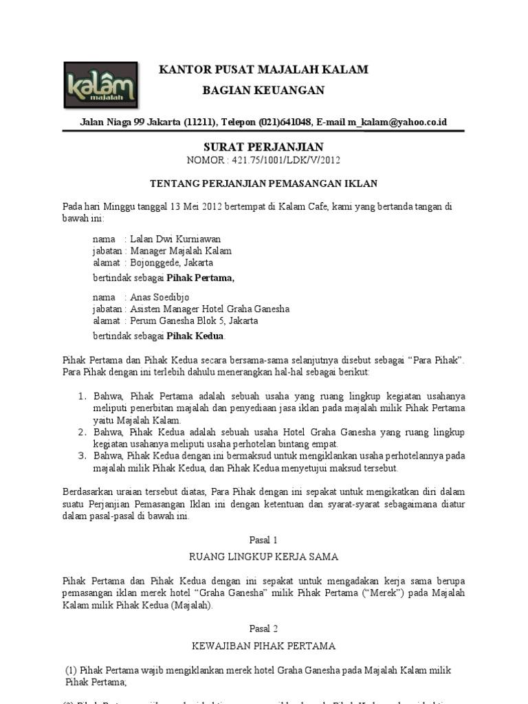 Surat Perjanjian Iklan
