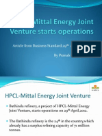 HPCL-Mittal Energy Joint Venture Starts Operations