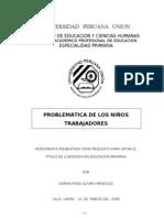 PROBLEMÁTICA DE LOS NIÑOS TRABAJADORES