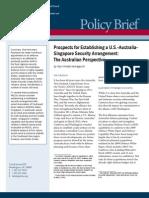 Prospects for Establishing a U.S.-Australia-Singapore Security Arrangement