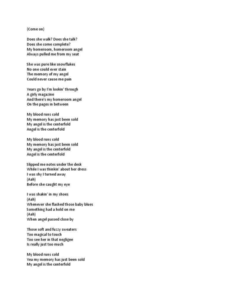 Centerfold Tab and Lyrics   J Geils Band   Song Structure ...