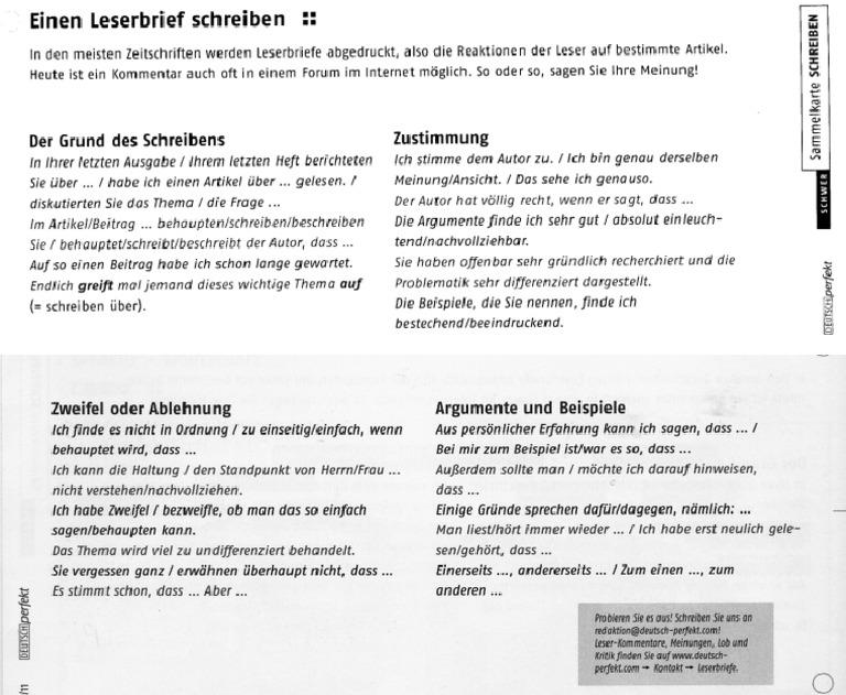 Redemittel Leserbrief 081 Brief Beispiel Deutsch B2 Beispiel