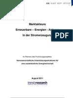 Marktakteure Erneuerbare Energie Anlagen in Der Stromerzeugung 2011