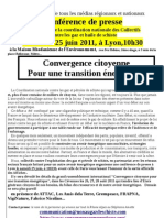 Communiqué / Conférence de presse de la coordination nationale LYON 25 juin 2011