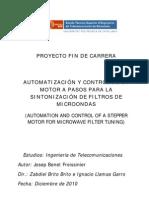 Automatizacion y Control de Un Motor a Pasos Para La Sintonizacion de Filtros de Micro on Das