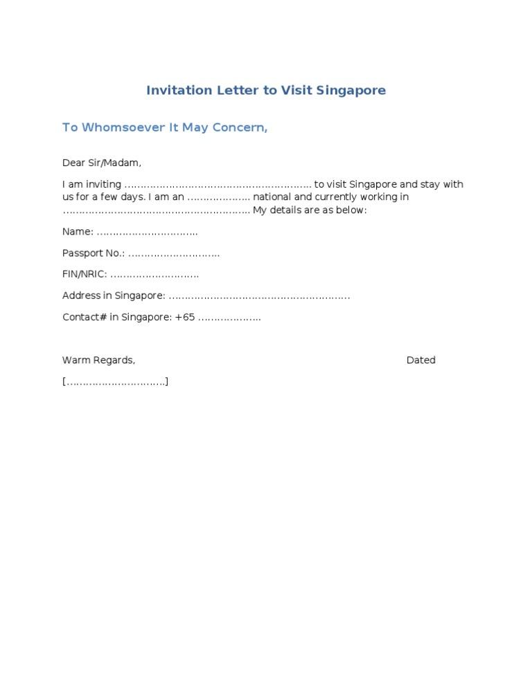 Sample Invitation Letter To Visit Singapore