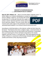 Post-Event Press Release About Santacruzan 2012, Seasons Marketplace at Landess, Milpitas, CA