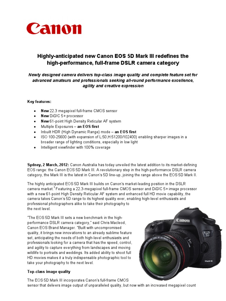 Canon EOS 5D Mark III Press Release | Canon Eos | Digital Single ...