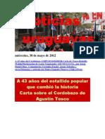 Noticias Uruguayas miércoles 30 de mayo del 2012