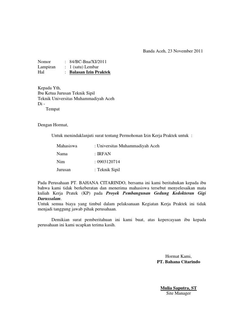 Contoh Surat Balasan Magang Mahasiswa Surat 34