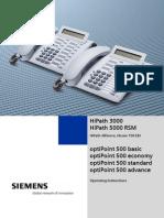 Siemens OptiPoint 500 Handset User Guide