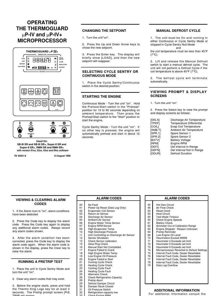thermoguard up iv microprocessor 1 engines hvac rh scribd com thermo king ts 300 operating manual thermo king service manual pdf