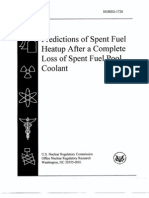 NUREG-1726 Predictions of Spent Fuel Heat Up After a Complete Loss of Spent Fuel Pool Coolant