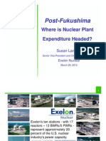 Post-FukushimaWhere is Nuclear Plant Expenditure Headed Susan Landahl Senior Vice President and Chief Operating Officer Exelon Nuclear March 29, 2012