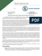 Suffolk Bancorp First Quarter Report 2012