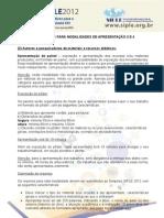 SIMPÓSIO SIPLE 2012 - Orientações para as modalidades de apresentação 3 e 4 (2)