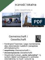 2 wykład społeczność lokalna Pomiędzy wspólnotą a stowarzyszeniem